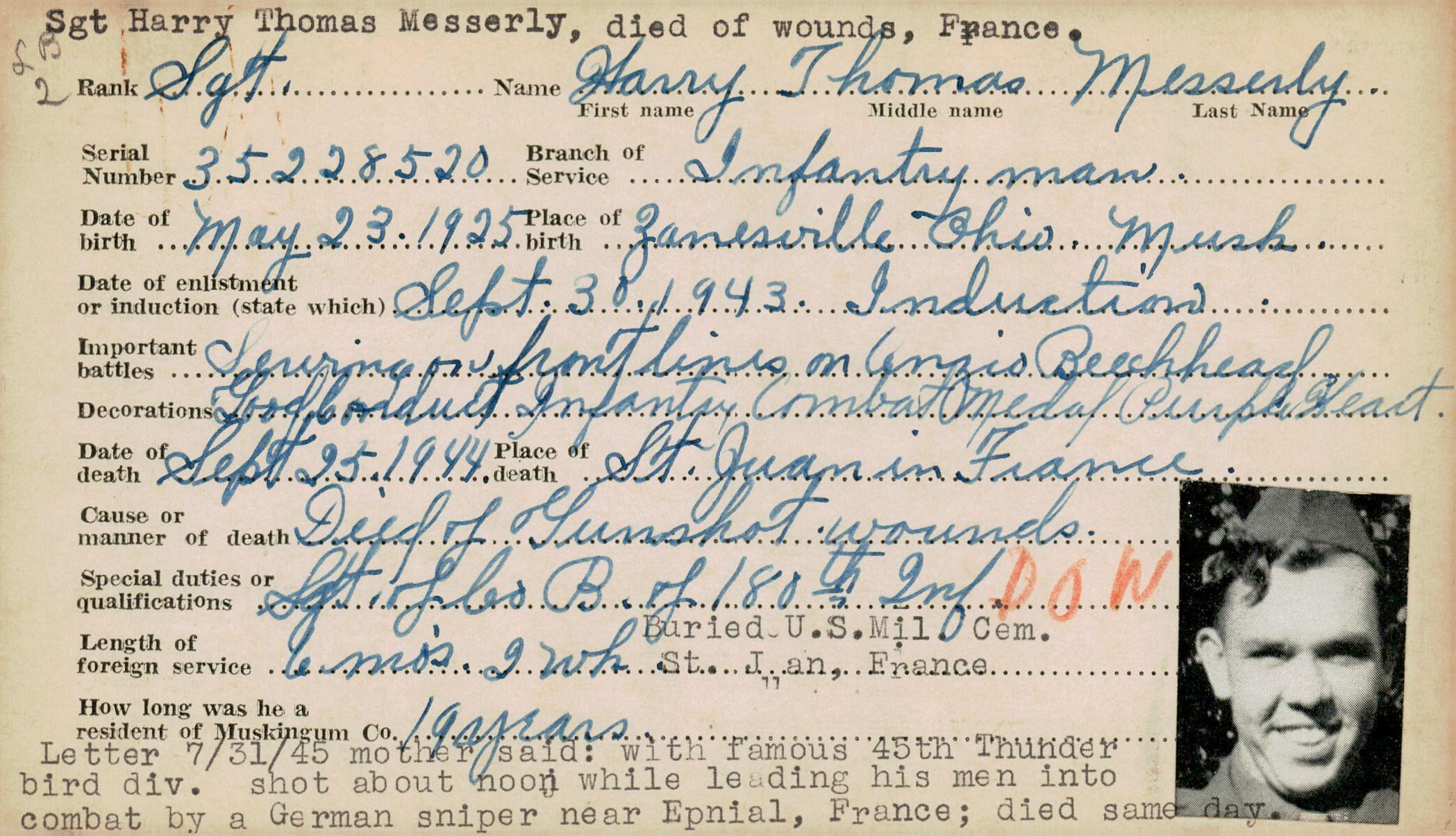Schneider WWII Muskingum Veterans Archive – M